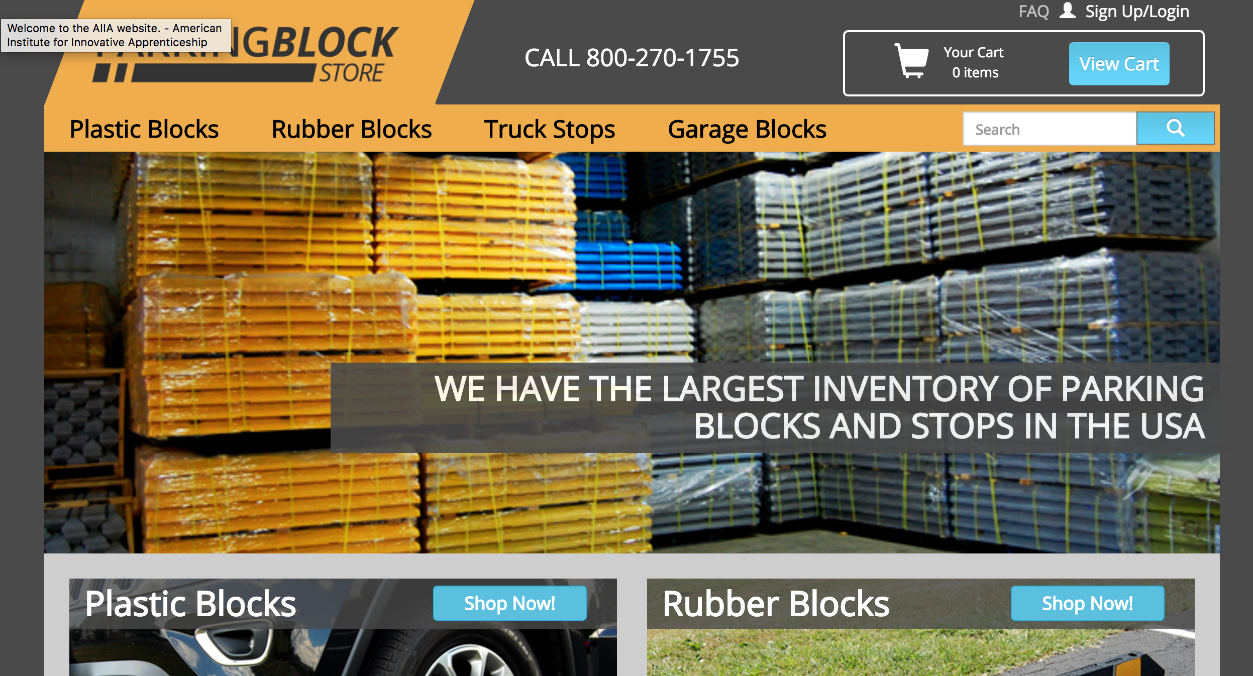 Parking Block Store Homepage